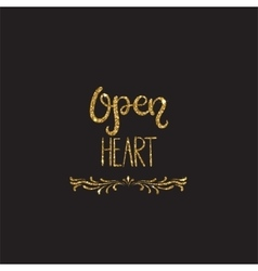 Open heart Romantic lettering with glitter vector image