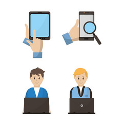 people using electronic devices vector image