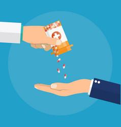 pharmacist giving medicine pills to patient vector image