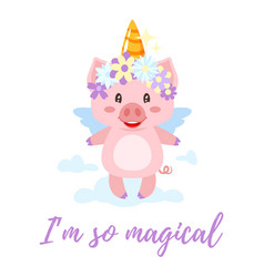 Pig with unicorn magic horn vector
