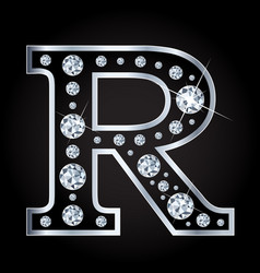 R letter made with diamonds isolated vector