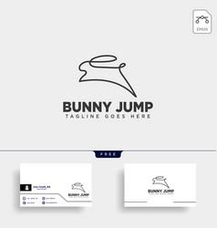 Rabbit or bunny jump animal line art style logo vector