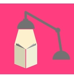 Reading with a lamp in pink background vector