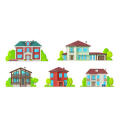real estate icons residential buildings houses vector image