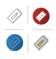 Rectangular notched trowel icon vector
