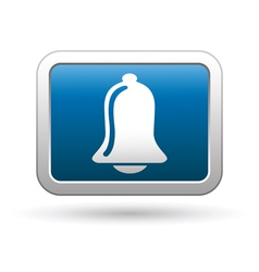 Ringing bell icon on blue with silver button vector image