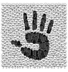 Save the forests concept Hand print vector
