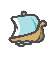 scandinavian war ship icon cartoon vector image