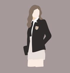 School girl or student in uniform vector