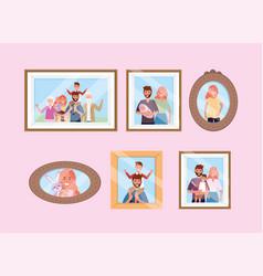 Set happy family pictures memories vector
