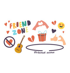 Set icons friend zone theme circle crossed vector