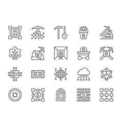 set of blockchain technology line icons pack of vector image