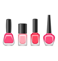Set of bottles with nail polish vector