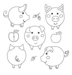 Set of cute cartoon contour pig face profile vector