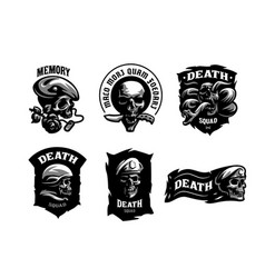 set of skull emblems vector image