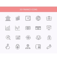 Set of thin lines financial service items icons vector