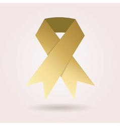 Single abstract golden awareness ribbon icon vector image