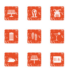Solar plate icons set grunge style vector