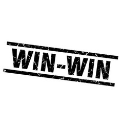 Square grunge black win-win stamp vector