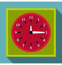 Square wall clock icon flat style vector