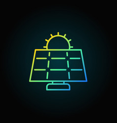 Sun and solar panel colorful icon vector
