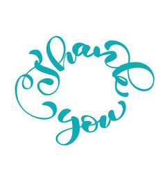 Thank you handwritten inscription in a circle vector