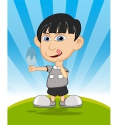 The boy eating ice cream cartoon vector image
