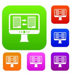 translator app on the screen of computer set vector image