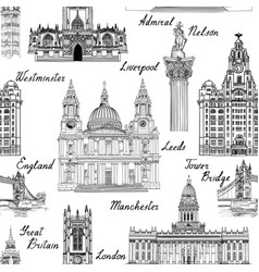 Travel europe famous city landmark uk seamless vector