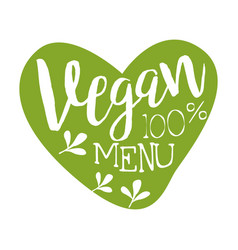 Vegan menu green label in the shape of a heart vector