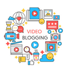 video blogging flat line concept vector image