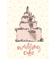 Vintage drawn wedding cake vector