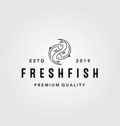 Vintage yin yang fresh fish logo label packaging vector