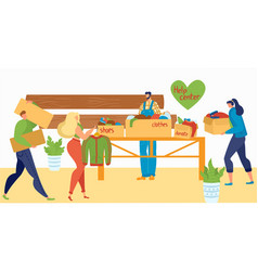 volunteers help people with cloths and things vector image