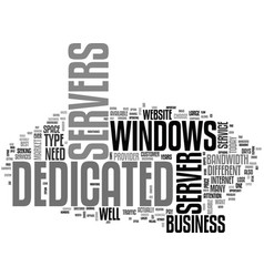 Windows dedicated servers text word cloud concept vector