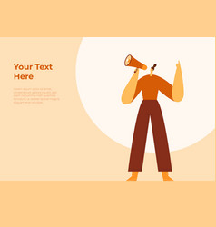 Woman holding loudspeaker and raising her hand vector