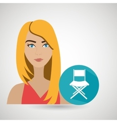 woman movie video theater vector image