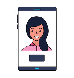 woman on screen mobile button vector image