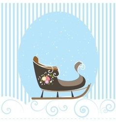Christmas Card Blue Beautiful Old Sled Snowflake vector image vector image