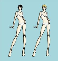 Fashion design female models template vector