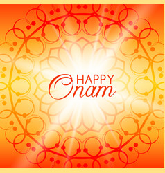Happy onam greeting card with rangoli vector