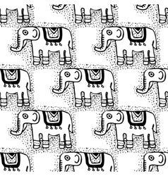Seamless tribal texture with elephants vector image vector image
