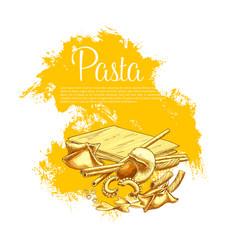 italian pasta cuisine poster for restaurant vector image