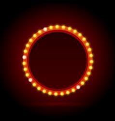 light bulbs vintage neon glow circle frame vector image vector image
