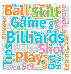 Play Billiards How To Improve Your Skill Set text vector image vector image