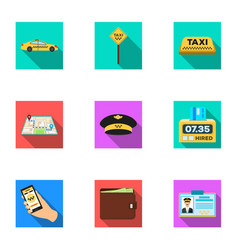 set of icons about the taxi a call taxi driver vector image vector image