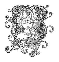 surrealistic woman shaman coloring page vector image vector image
