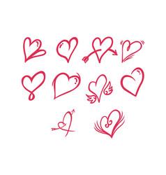 thin line heart icon set vector image