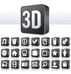 3D Apps Icon Technology Pictogram on Square Button vector image