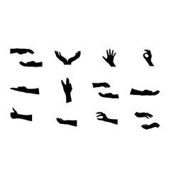 Black Set of Hand vector image vector image